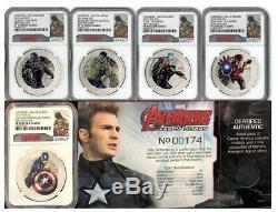 2015 $2 5-COIN Set Avengers Age Of Ultron NGC PF70 First Relases POP of 140