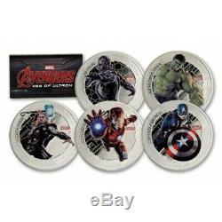 Marvel Avengers Age of Ultron 1oz silver coin Niue 5x 2 dollars 2016 2$ set