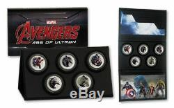 Marvel The Avengers Age of Ultron NIUE 2015 Silver Proof 999 5 Coin Set