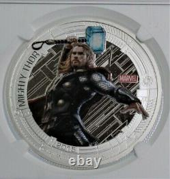 PF69 THOR Marvel Avengers Age of Ultron 2015 ULTRA CAMEO PROOF 1 oz. 999 Silver